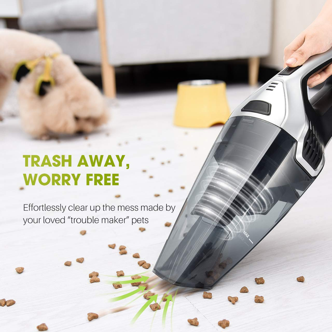 Wet Dry Vacuum Cleaner for Pet Hair Homasy Upgraded Handheld Vacuum Cleaner Cordless Home and Car Cleaning Powerful Lightweight Cyclonic Suction Cleaner Rechargeable Quick Charge Silver