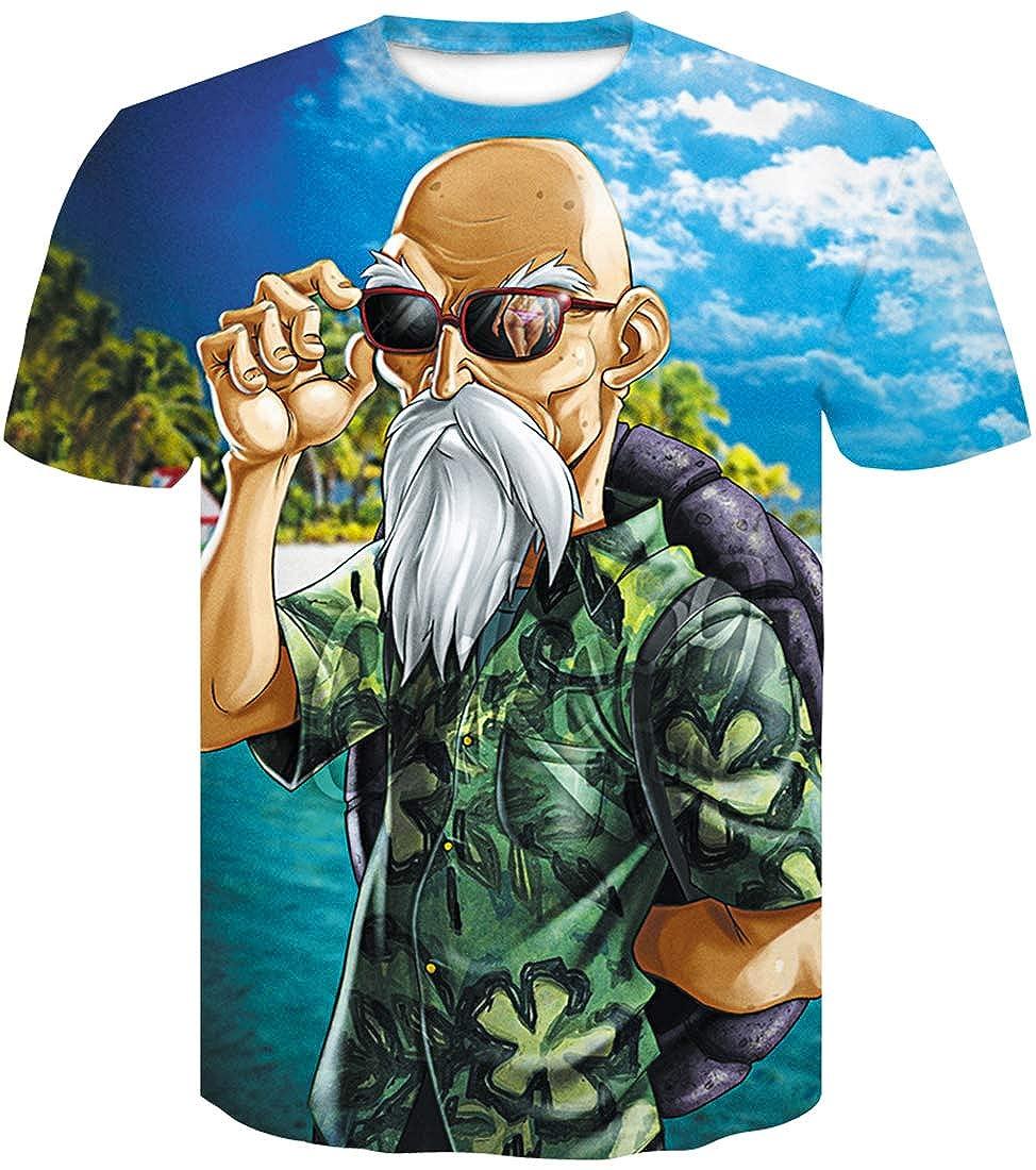 FLYCHEN Hombre Dragon Ball T-Shirt Colorful Impreso en 3D Creativo Camiseta Super Saiyan Goku para Hombre
