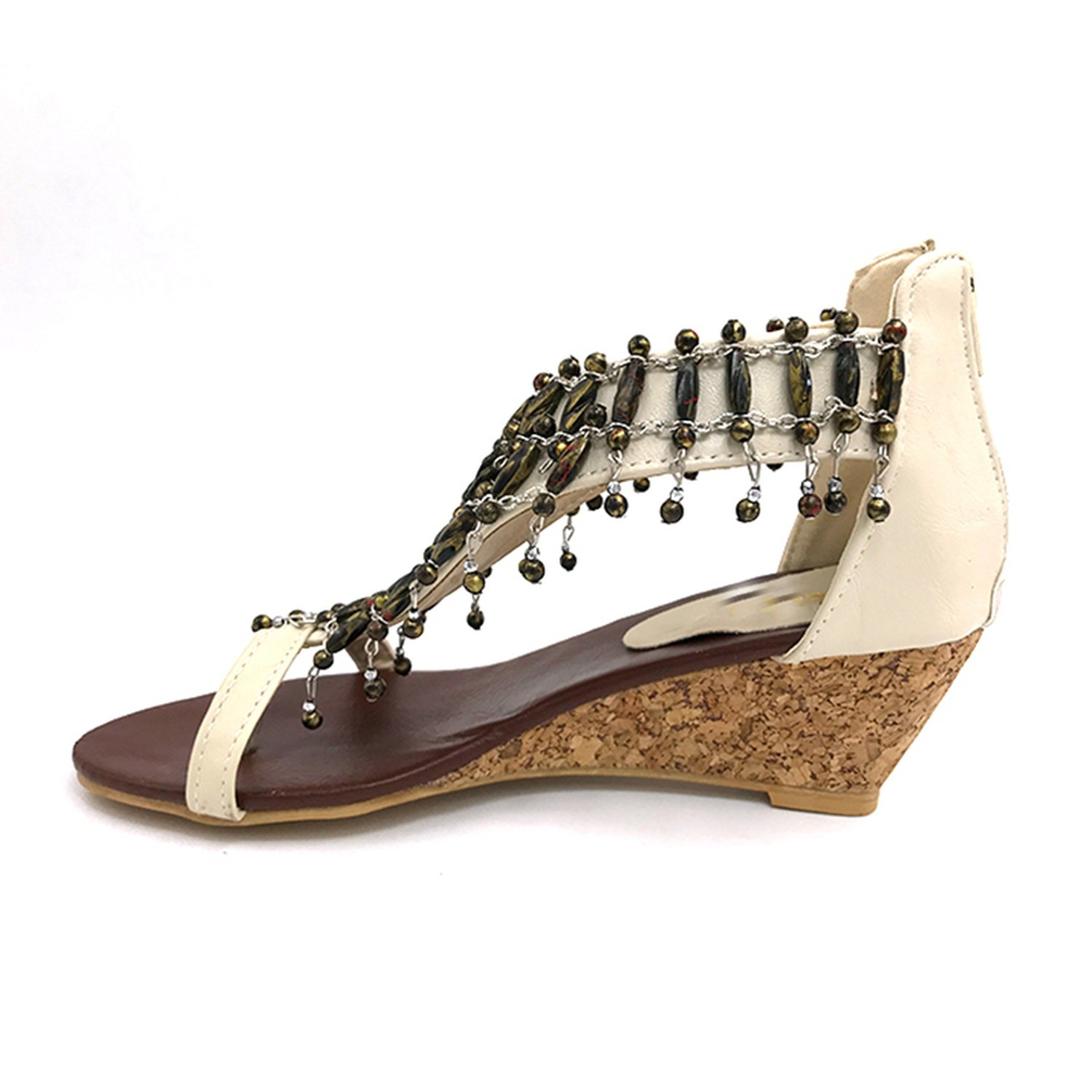 Real high-Heeled Shoes Small Yards Bohemia National Trend Beaded Plus Size Womens Wedges Sandals Size 30-43 P