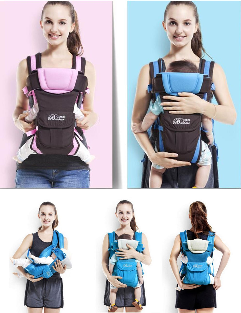 2f47a7e15ac0 Baby & Child Carrier Baby Carrier Backpack Ventilate Adjustable Buckle Mesh  Wrap(PINK)