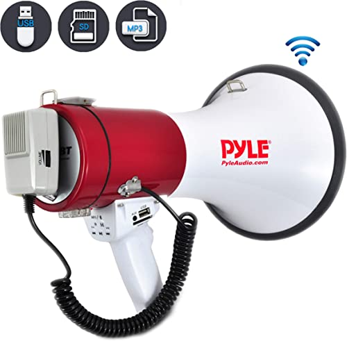 Pyle Megaphone Speaker PA Bullhorn with Built-in Siren – 50 Watts Adjustable Volume Control and 1200 Yard Range – Ideal for Football, Soccer, Baseball, Hockey and Basketball Cheerleading Fans and Coaches or for Safety Drills PMP52BT