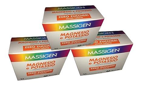 3 X Massigen Magnesio y Potasio Zero Azúcar 24 Buste