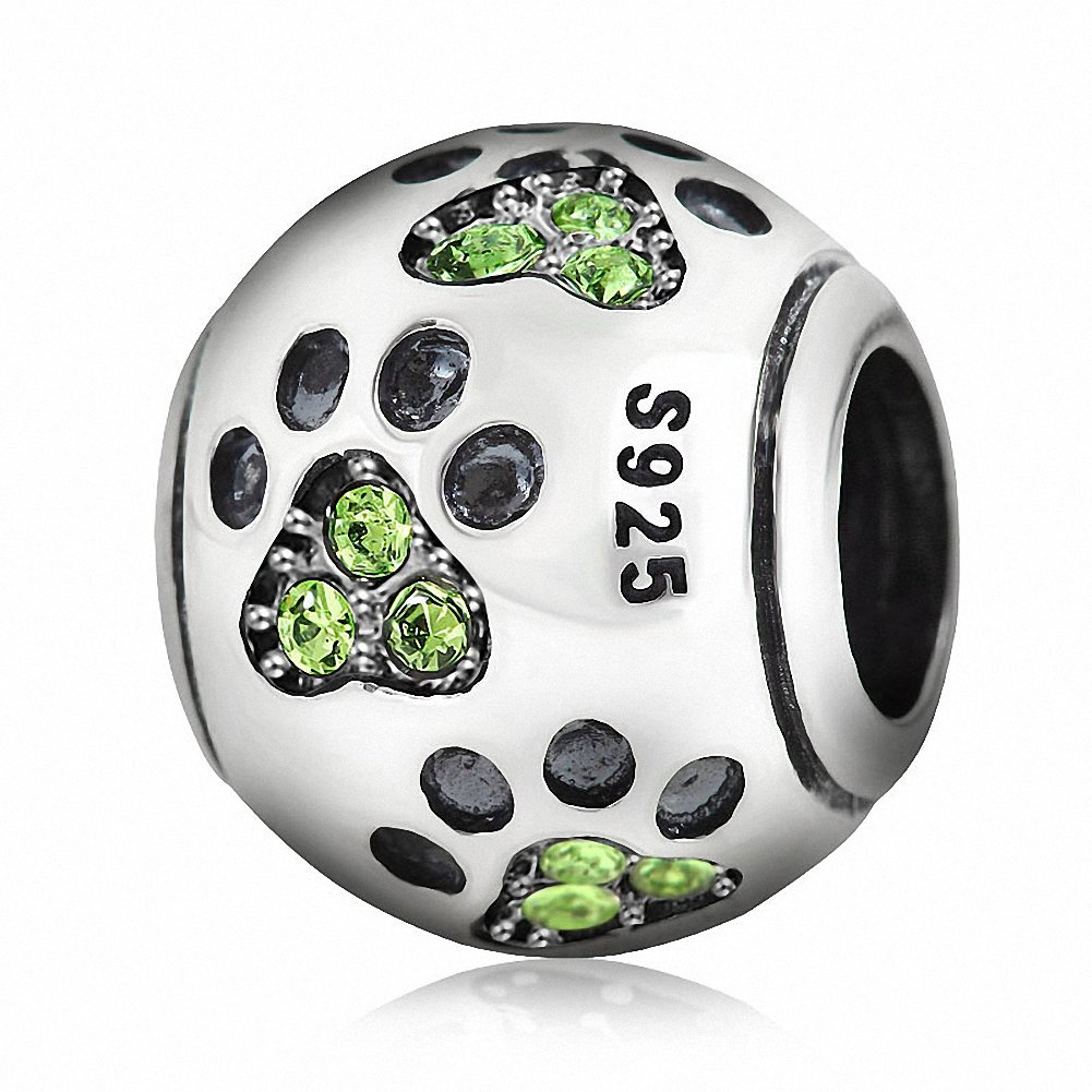Dog Paw Print Light Green Crystal 925 Silver Love Animal Lucky Charm Beads Suitable for European Bracelets (Green)