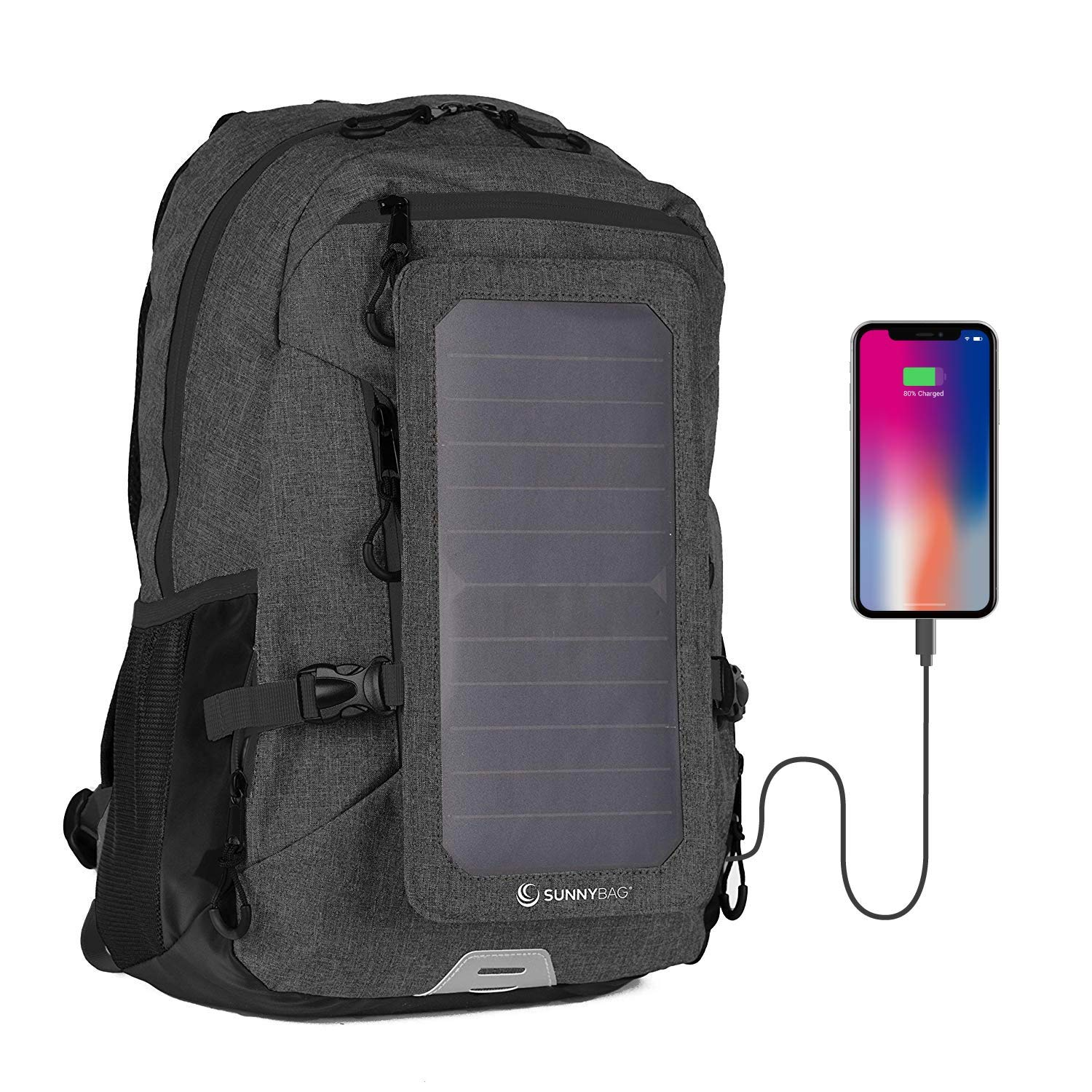 Sunnybag Explorer+ Solar Backpack | World's Strongest Solar Panel for Charging Smartphones and All USB-Devices on The go | 15L Volume and 15'' Laptop Compartment | Black/Black by SUNNYBAG