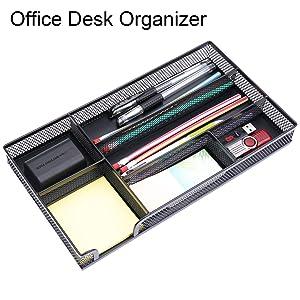 EsOfficce Drawer Organizer,Desk Organizer, Metal Mesh Drawer, Desk Drawer Organizer for Home Office and School,11.02X 6.10 X 1.38 Inch,Black