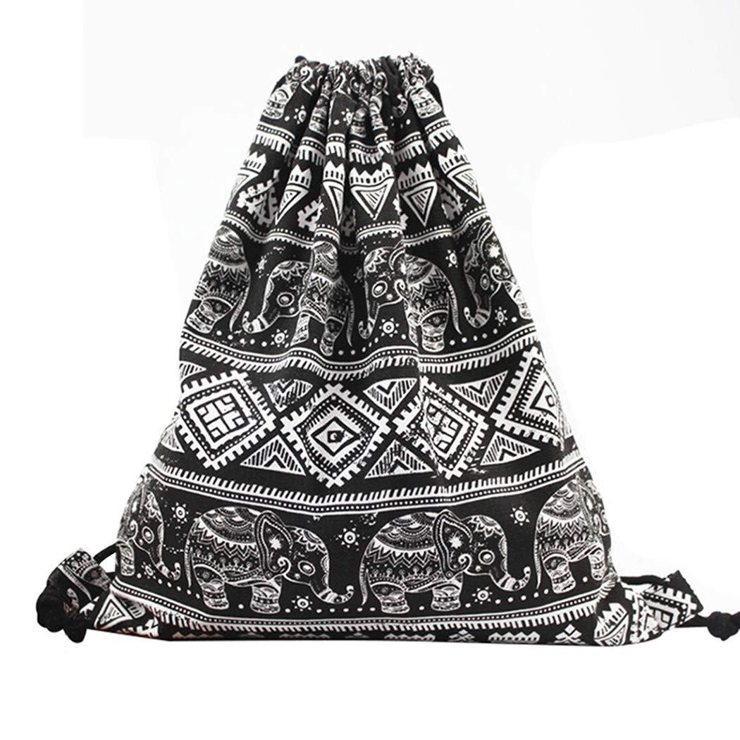 iSuperb Bolsas de Cuerdas para Viajes Gimnasio Mochila con Cordon El Deporte Unisex Drawstring Bags (Elefante)
