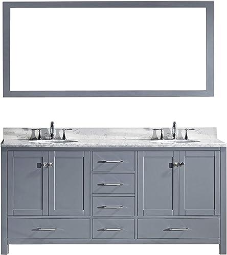 Virtu USA Caroline Avenue 72 inch Double Sink Bathroom Vanity Set
