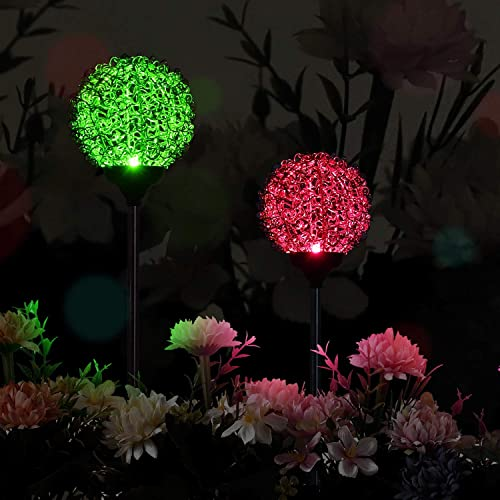 CGN Solar Lights Outdoor – New Upgraded Magic Globe Powered Garden Light, Multi-Color Changing LED Solar Stake Lights for Patio,Yard Decoration 2PCS Magic Globe