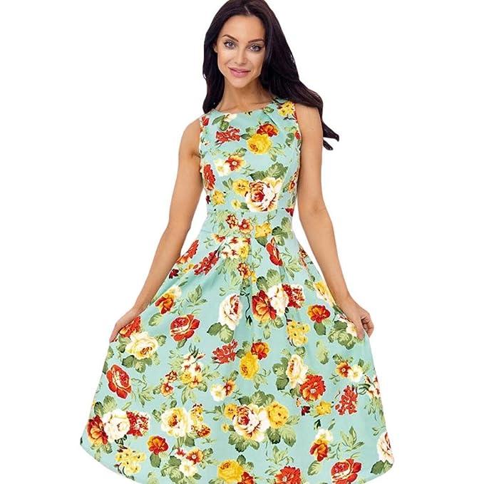 yoyorule Mujer 1950s Vintage Flores Fiesta Swing Vestido sin mangas