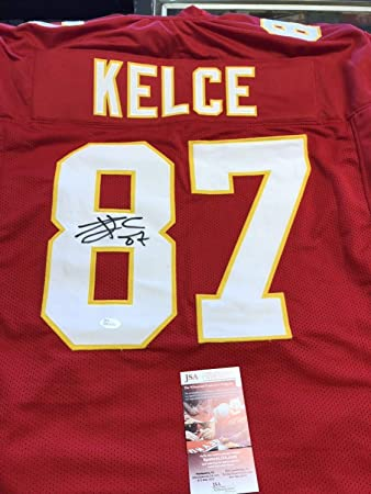 4decabf57 Image Unavailable. Image not available for. Color  Travis Kelce Autographed  Signed Red Custom Chiefs Jersey Memorabilia JSA