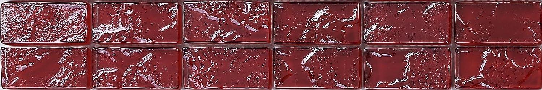 30x5cm Red Textured Lava Glass Brick Bathroom Kitchen Feature Mosaic Tiles Strip MB0123