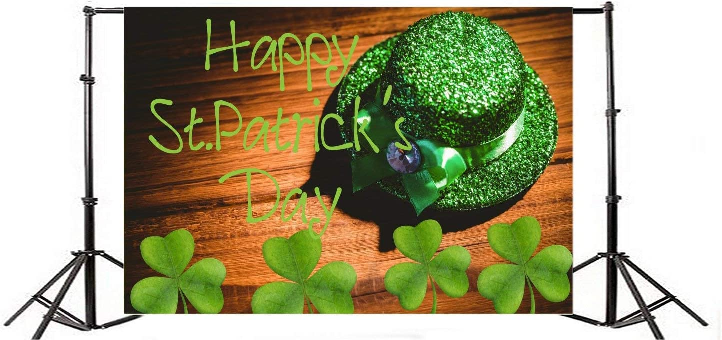 Patricks Day Photo Background Children Baby Adults Portraits 10x6.5ft Polyester Photography Backdrop Lucky Irish Shamrock Green Clover Leprechauns Hat Wood Board Happy St