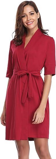 Aibrou Pijama Kimono Mujer Bata Camison Corto Ropa de Dormir Algodón Verano Batas y Kimonos Sexy y Elegante