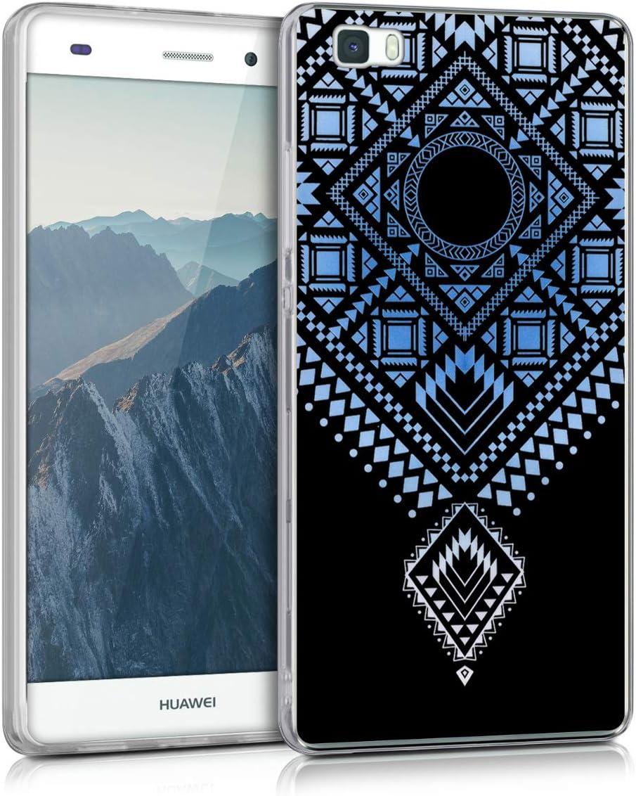 kwmobile Funda Compatible con Huawei P8 Lite (2015) - Carcasa de TPU Azteca en Azul Claro/Blanco/Transparente