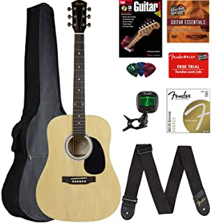 Fender Squier Dreadnought Acoustic Guitar - Natural Bundle with Gig Bag, Tuner, Strap,