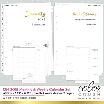 picture about A5 Planner Printables named Websters Web pages A5 2018 12-Thirty day period 7 days and Thirty day period Calendar