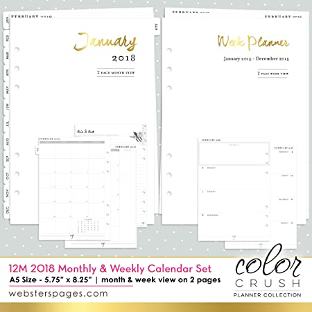 Color Crush A5 Planner 12 Month Calendar Insert 2018 Dated Week