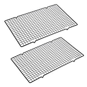 "OwnMy Set of 2 Baking Cooling Rack, 10"" x 16"" Non-Stick Heavy Duty Wire Oven Safe Cooling Rack for Roasting and Baking"