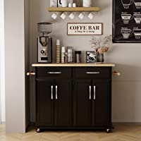 Kitchen Islands with Storage, Kitchen Carts and Islands Rolling Kitchen Island Storage Cabinets with Drawers, Lockable…