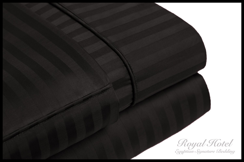 Royal Hotel's Stripe Black 300-Thread-Count 4pc Queen Bed Sheet Set 100% Cotton, Sateen Stripe, Deep Pocket, 100% Cotton