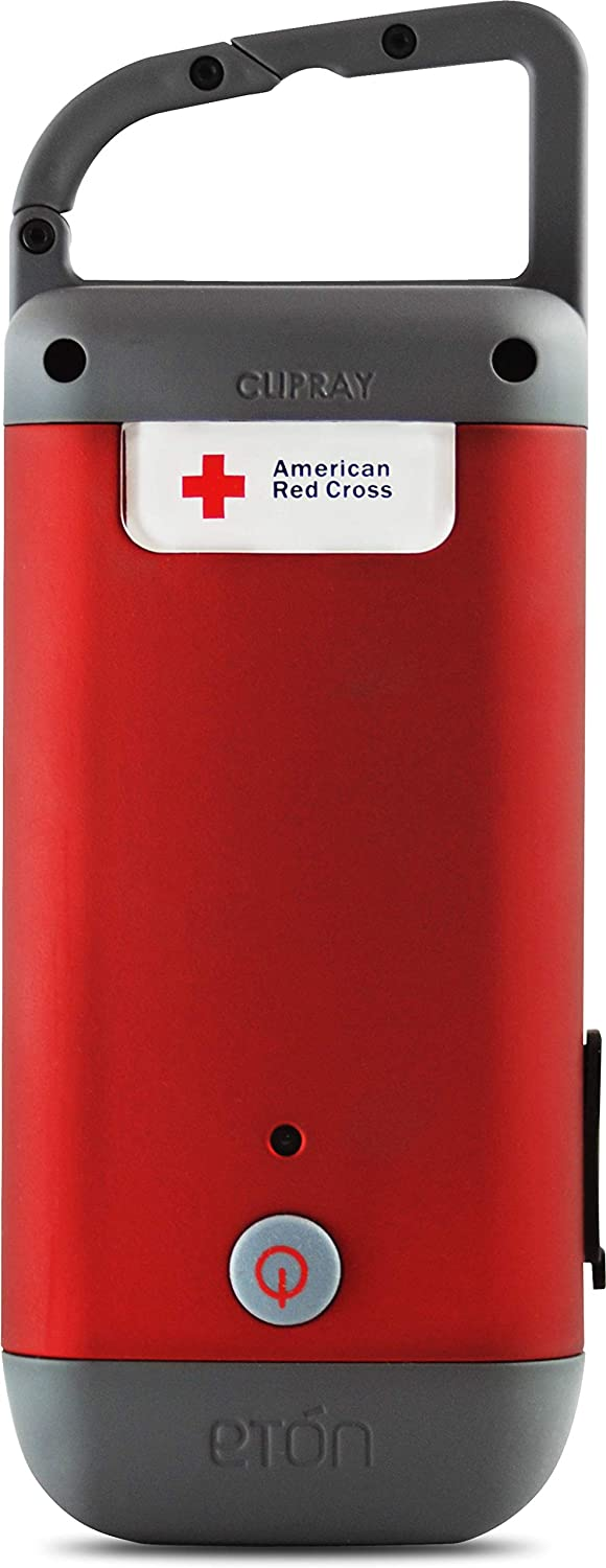 American Red Cross Clipray Crank-Powered, Clip-On Flashlight & Smartphone Charger, Red, Pack of 2