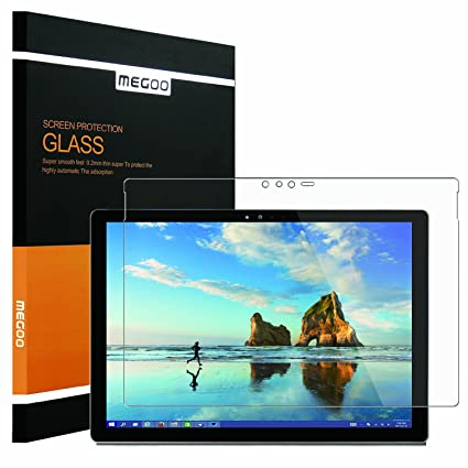new concept e692a 25f4a MEGOO New Surface Pro Screen Protector 2017 [Tempered Glass] Bubble Free,  Ultra Clear, Anti-Scratch, High Sensitive, Friendly Touching, Also ...