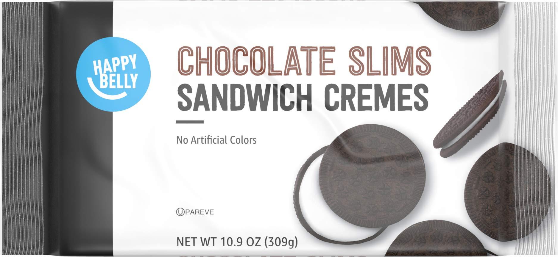 Amazon Brand - Happy Belly Chocolate Slims Sandwich Crèmes Cookies, 10.9 oz