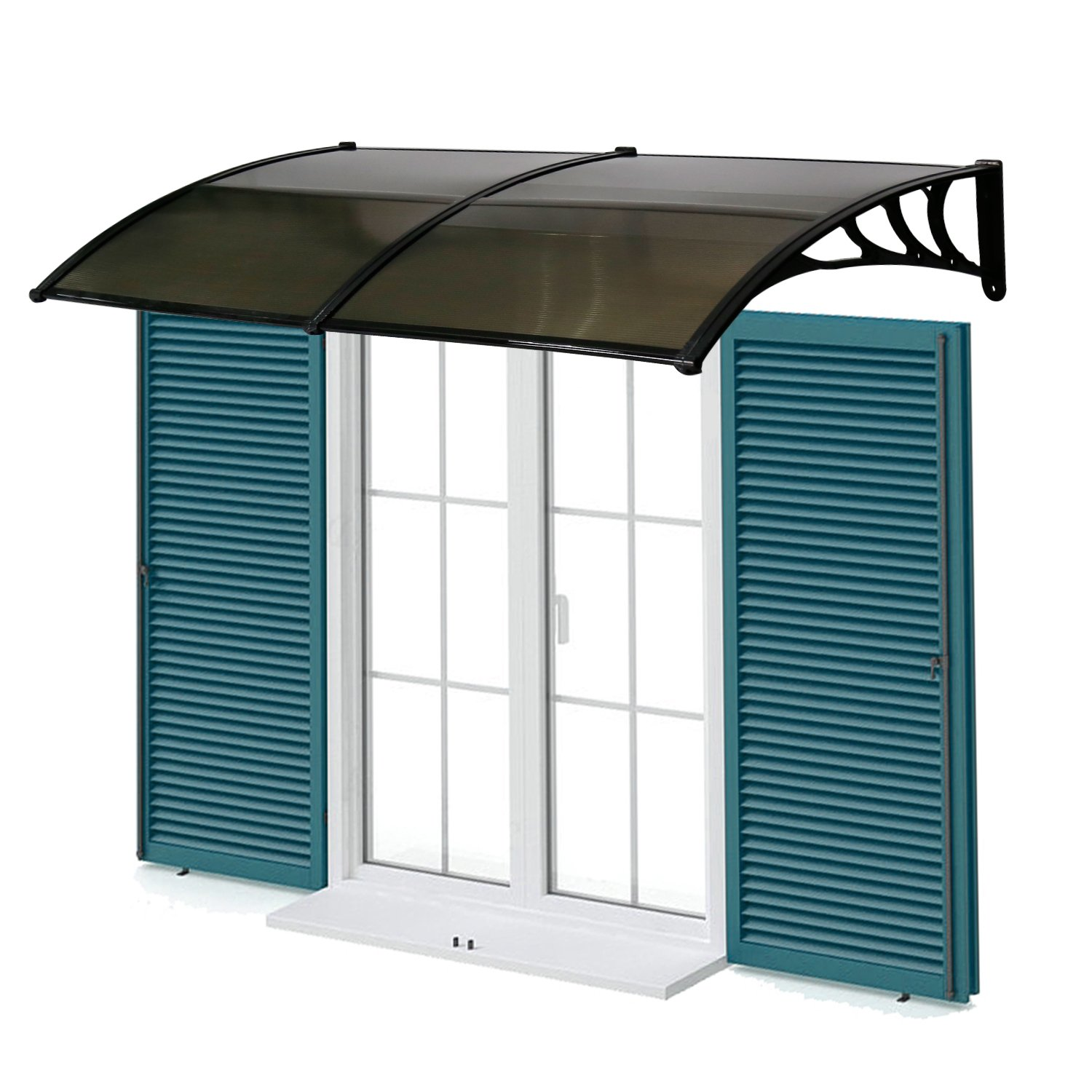 Kinbor Outdoor Door Window Outdoor Awning Solid Polycarbonate Patio Sunshade Cover Canopy Arc-Shape Rain Shelter (40x80, Brown)