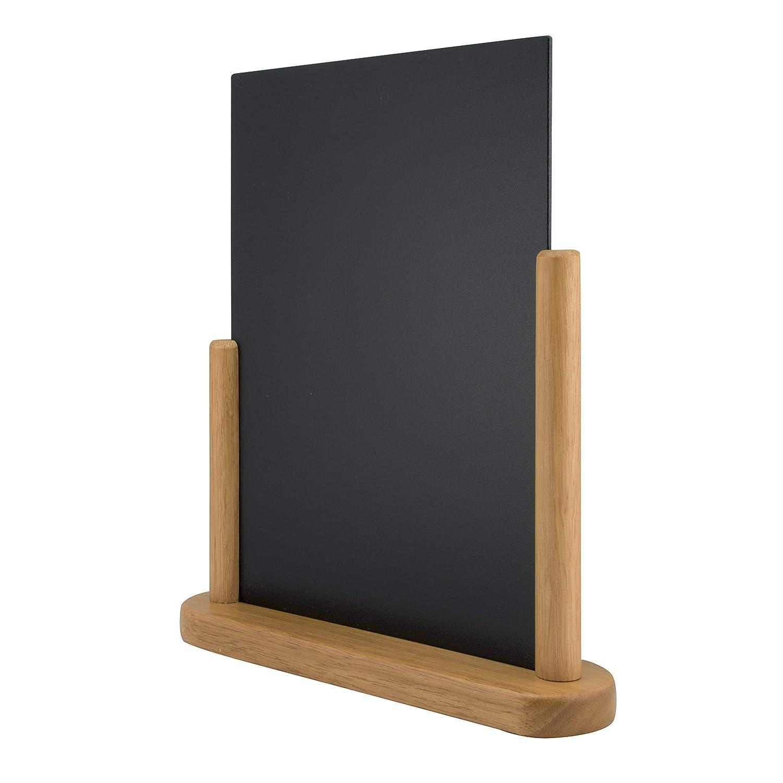 mit einem wei/ßen Kreidestift Securit Tischkreidetafel Elegant 32 x 27 cm gro/ß Tischaufsteller mit beidseitiger Tafeloberfl/äche mit Holzsockel in U-Form ca