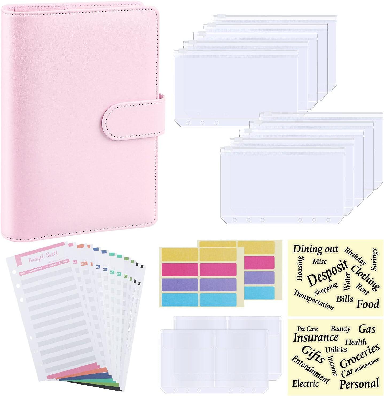 Budget Binder, A6 PU Leather Notebook Planner Organizer Refillable 6 Ring Binder Cover with 10 Binder Pockets Cash Envelopes 2 Bill Bag 12 Expense Budget Sheet, Letter Sticker Labels (Pink)