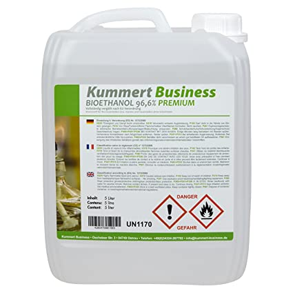 5 l Bioethanol premium 96 6 % (1 x 5 l) for fireplace, gel