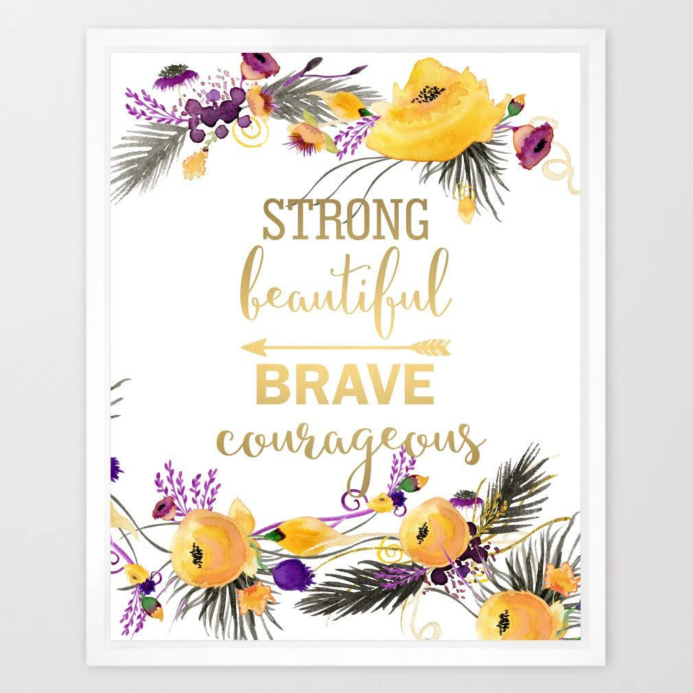 Eleville 8X10 Strong beautiful brave courageous Real Gold Foil and Floral Watercolor Art Print (Unframed) Kids Wall Art Nursery Decor Motivational Inspirational Poster Typography Quote Print WG022