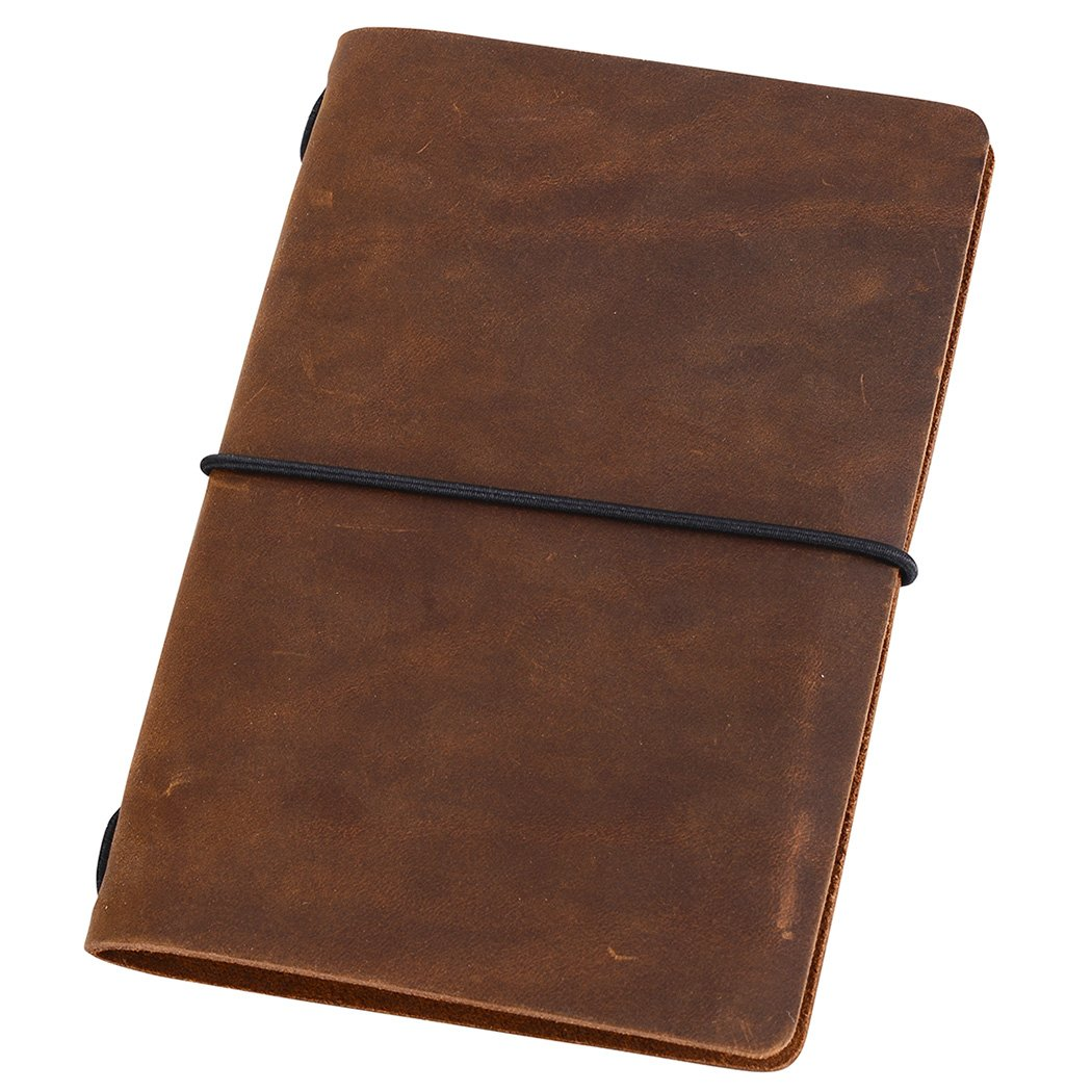 Pocket Travelers Notebook - Leather Journal Cover for Field Notes, Moleskine Cahier 3.5 x 5.5, Brown September Leather