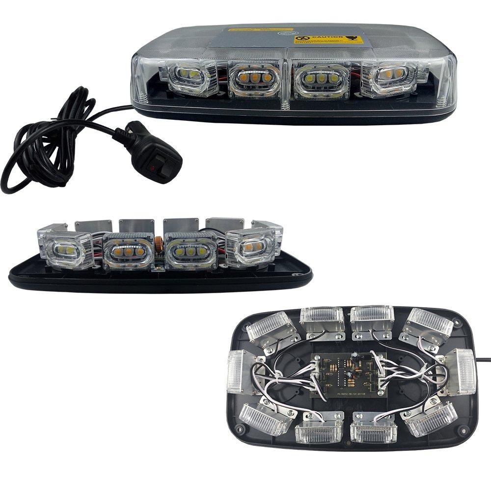 High Intensity Law Enforcement Emergency Hazard Warning LED Mini Bar Strobe Light with Magnetic Base 12V-24V Amber /& White /& Amber /& White