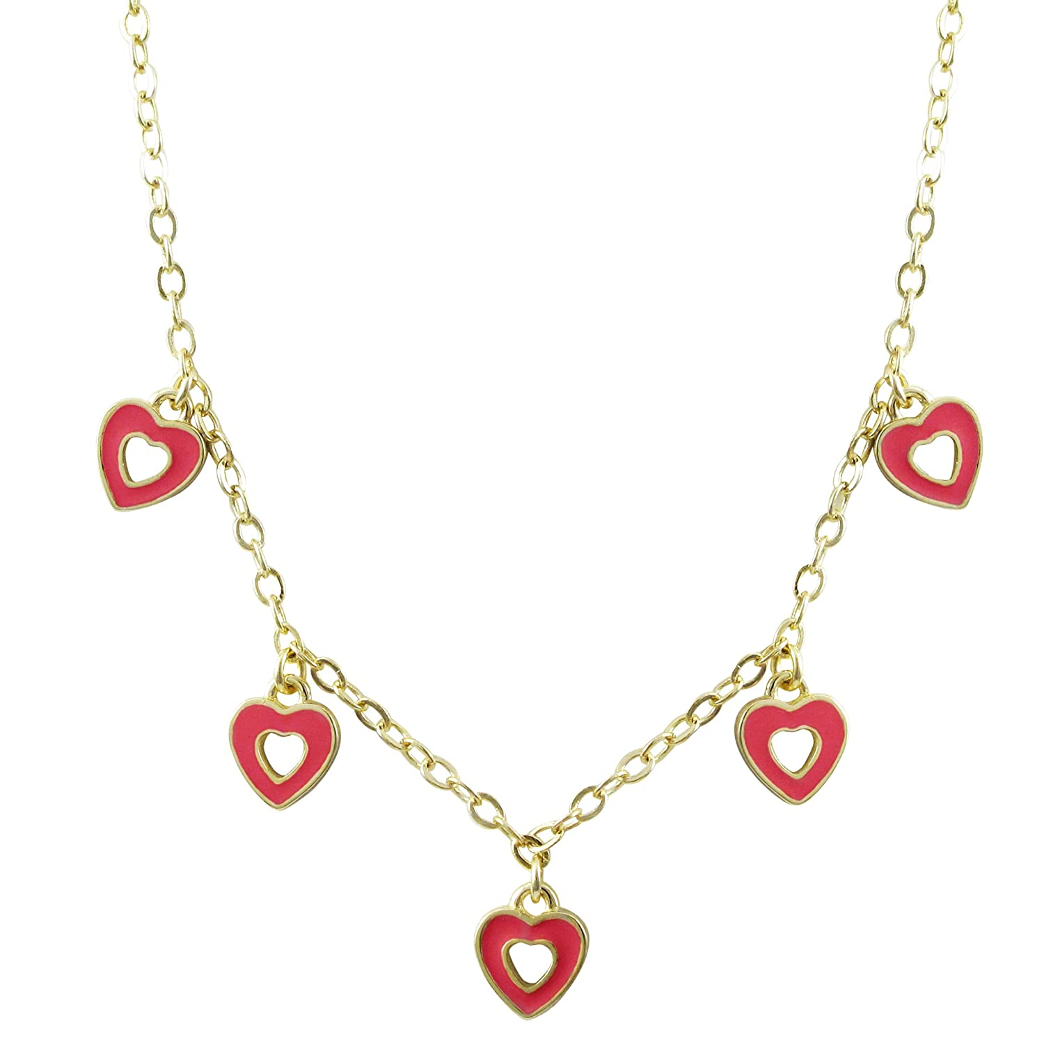 15+2 Extender Ivy and Max Gold Finish Hot Pink Enamel Childrens Teens Dangling Hearts Necklace