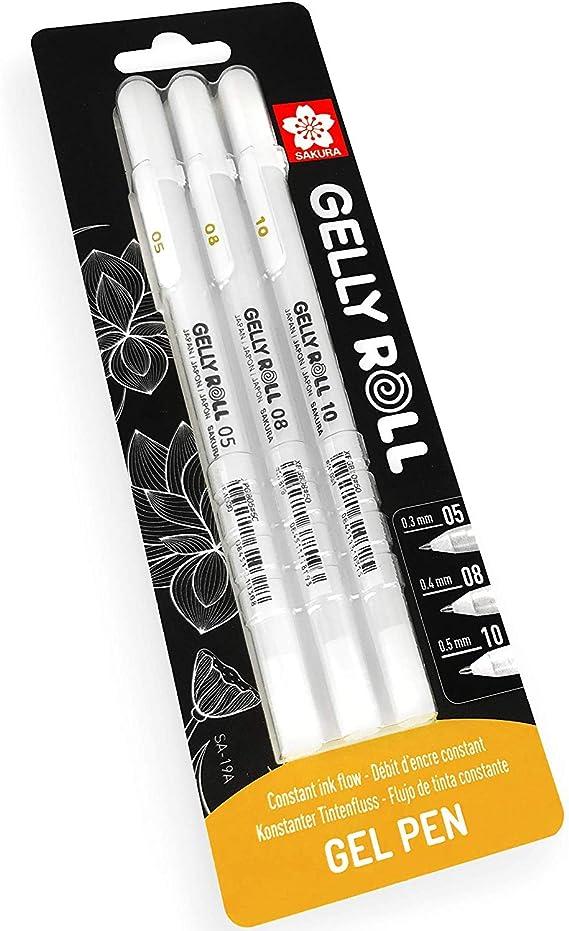 SAKURA BLXPGB3A 05/08/10 - Bolígrafo de tinta de gel (3 unidades), color blanco: Amazon.es: Oficina y papelería