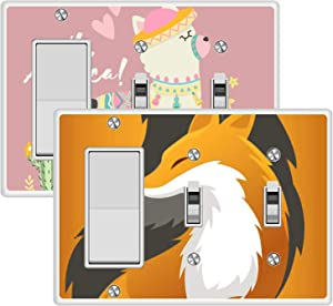 KANGHAR Square Single Decor+Double Toggle White Electrical Outlet Cover Plates Cute Llama Alpaca Fox Wall Plates for Outlets