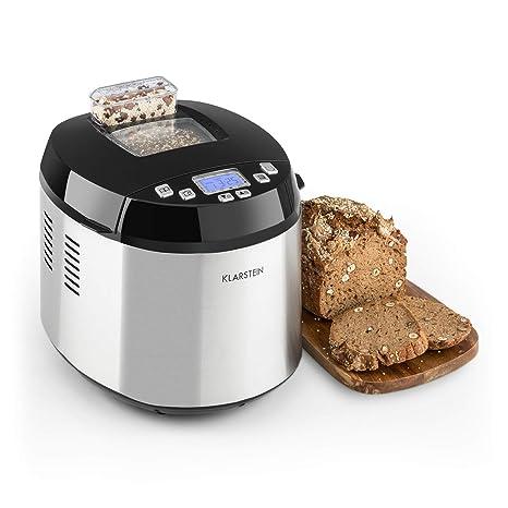KLARSTEIN Brotilde Panificadora - Máquina de pan automática , Pantalla LCD , Ventana para ver el proceso , Dispensador de ingredientes , 650 W , Apto ...