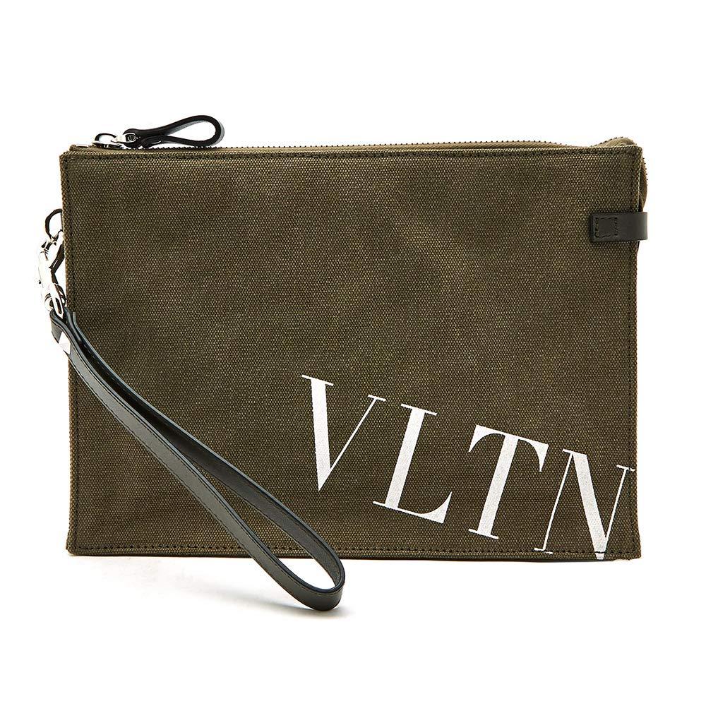 [ヴァレンティノ] [VALENTINO] メンズ クラッチバッグ セカンドバッグ ハンドバッグ ロゴ入り ストラップ グリーン [並行輸入品] B07GNQC39Y  One Size