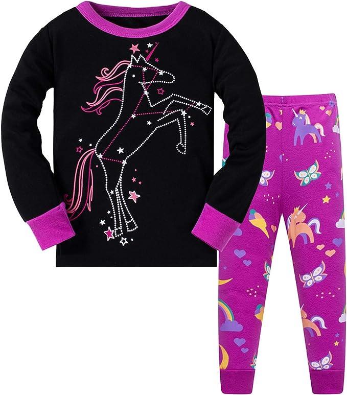 Pijama de unicornio para niñas pequeñas, pijama para niños, pijamas de Navidad, 100 % algodón, color morado y negro, talla de 2 a 8 años Negro Negro (8 años: Amazon.es: Ropa y accesorios