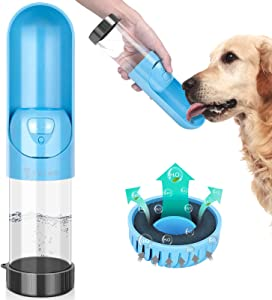 TSYMO Dog Water Bottle - Leak Proof Portable Puppy Water Dispenser with Activated Carbon Filter & Foldable Drinking Feeder for Pets Outdoor Walking, Hiking, Travel, BPA Free (10 Oz)