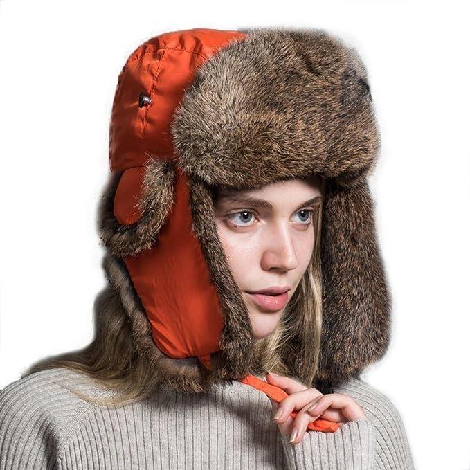 Ferand Cappello Unisex Adulto Trapper con Pelliccia di Coniglio para Sci  Snowboard Inverno 4f516ad5a388
