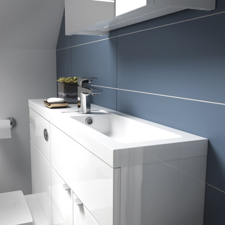 Gloss Grey 300mm Hudson Reed OFF951 Grey Gloss Wall Unit Storage Cabinets