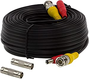 InstallerCCTV BNC Video Power Cable, 60ft All-in-One Video HD-TVI HD-CVI AHD Analog 1080p Black Premade Power Cable w/Connectors for CCTV Security Cameras - Black