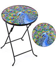 Christow Folding Glass Garden Side Table Outdoor Patio Decking Hand Painted Butterfly Peacock Poppy Pattern