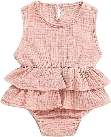 Infant Baby Girl Lace Ruffle Bowknot Romper Jumpsuit Bodysuit One-piece Playsuit