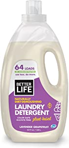 Better Life Natural, Plant Based 4X Concentrated Laundry Detergent, Lavender Grapefruit, 64 Loads, Sulfate Free & Color Safe, 2423F