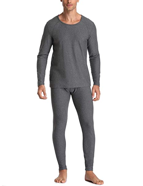 Genuwin Mens Soft Cotton Thermal Underwear Set Lightweight Base Layer Top /& Bottom Long Johns Pants
