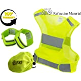 Reflective Vest Running Gear | Reflector Bands + Bag | Made of Top Silver Reflective Tape High Visibility for Running, Cycling, Dog Walking | Safety Vest with Pockets, Adjustable & UltraLight, 4 Sizes
