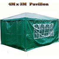 Autofather - Carpa impermeable de 3 x 4 m con carpa lateral para jardín, con 4 paneles laterales para exteriores, bodas…